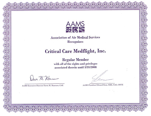 critical-care-medflight-AAMS-certificate