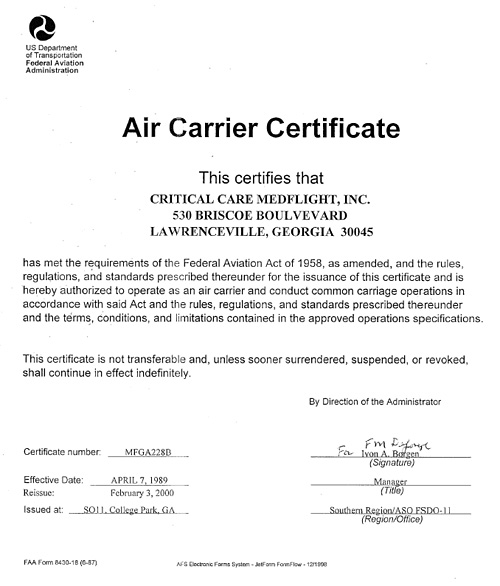 critical-care-medflight-air-carrier-certificate